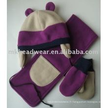 Ensemble d'écharpe et de gants en molleton polaire d'hiver pour enfants