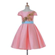 Rosa vestido de raso de niña de flores para la boda y Ceremonial