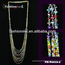 artesanal de vidro trançado bead colar de jóias