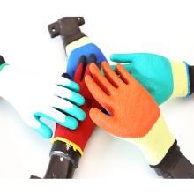 10 Gauge 2 Yarns Green Cheap Latex Coated Work Gloves
