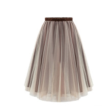 New design solid color breathable women puff skirts elastic high waist beautiful girls wearing long skirt