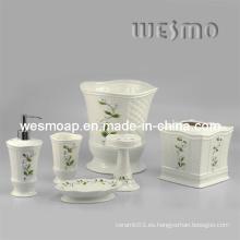 Accesorios de baño de porcelana floral conjunto (wbc0588b)