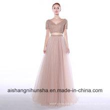 Tulle V-Ausschnitt A-Linie langes Abendkleid Zwei Stücke Abendkleid