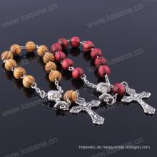 Heißer Verkauf 8mm Kiefer-hölzernes Korn-Ketten-religiöses Armband mit Kreuz