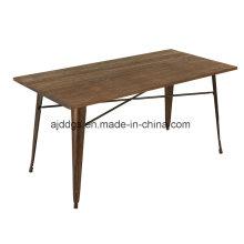 Table en bois de fer Base Table en métal