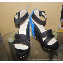 Fashion High Heel Black Women Wedge Sandals (HCY02-1630)