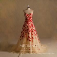 Vestido de noiva vermelho com renda de noivado 2017