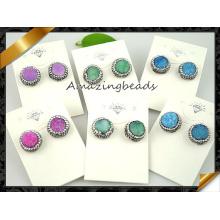 Мода Druzy камень стержень Кристалл серьги ювелирные изделия (FN076)