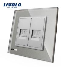 Panneau en verre cristal Livolo gris VL-C792C-15 mur 2 gangs RJ45 prise pour ordinateur / Internet prise électrique