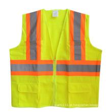 Colete de segurança de malha de bolso de zíper de tira refletiva alta visibilidade (yky2817)