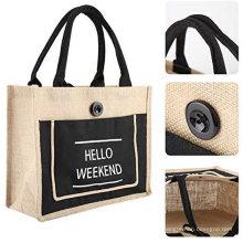 Reusable customized big capacity new style tote jute hemp shop bags