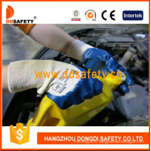 Knitted Wrist Blue Nitrile Coated Working Gloves Dcn306