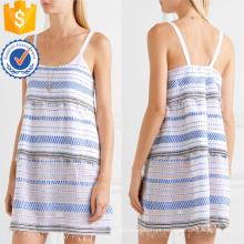 Spaghetti Strap Tiered Algodão Bordado Mini Summer Dress Fabricação Atacado Moda Feminina Vestuário (TA0323D)