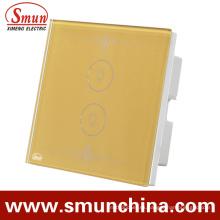 2 Teclas de contacto conmutan dorado, interruptor de control remoto de pared