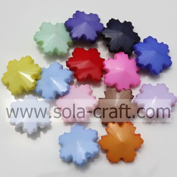 Wholesale Crystal Acrylic Opaque Snowflake Charm Beads In Jewelry Findings&Components Various Color In Stock