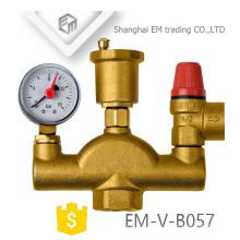 EM-V-B057 Válvula de ar em latão Válvula de segurança Manómetro Conjunto de três peças Acessórios para aquecimento do solo