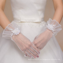Kurze Tüll Fünf Finger Braut Handschuhe für Hochzeit
