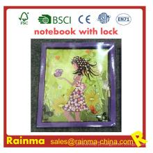 Caderno com trava para presente de papelaria de crianças