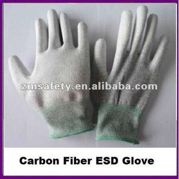 Antistatischer Carbonfaser-ESD-Handschuh mit der PU-Palme beschichtet
