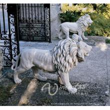 2018 heiße verkaufende Steinskulptur europäische Art weiße Marmorlöwenstatuen für Verkauf
