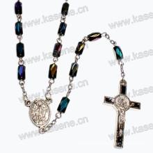 Glasperlen Religiöse Halskette mit Alloy Cross & Center