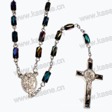 Glass Beads Religious Necklace with Alloy Cross &Center