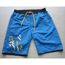 Yj-3021 Mens Microfiber Blue Velcro Elastische Taille Shorts Kurze Hosen