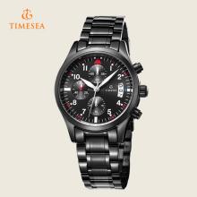 Mens Quarz Uhren Luxus Leder Schwarz Mode Chronograph 72230