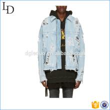 Cremallera de mezclilla azul chaqueta de primavera casual hombres chaqueta