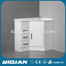 Única lavatório Modern High Gloss Lacquer White MDF Bathroom Corner Furniture