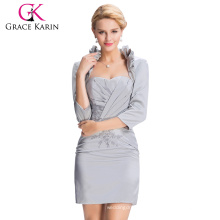 Grace Karin Two Pieces Grey Satin Long Sleeve Mother of The Bride Dresses With Jacket CL3826