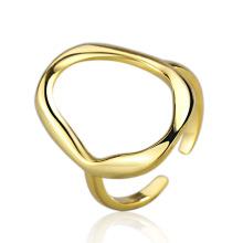Right Grand Brass Minimalist Geometric Double line open size Ring
