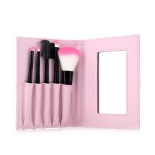 5pcs dois tons de nylon cabelo cosméticos conjunto de escova de maquiagem kit com espelho