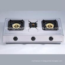 3 brûleurs en acier inoxydable 710mm Longueur en acier Plaque en acier casseroles à gaz / cuisinière à gaz