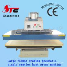 Zeichnung Automatische Transferpresse Maschine 60 * 80 cm Pneumatische Zeichnung Einzelstation Wärme Druckmaschine T-Shirt Wärmeübertragung Maschine Stc-Qd08