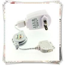 Автомобильное зарядное устройство с IC белый + USB-кабель для передачи данных выдвижной