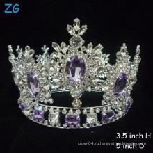 Горячие !!! Роскошная Кристалл Тиары Фиолетовый Алмаз Тиара Принцесса Корона для новобрачных Корона полный круглый конкурс короны
