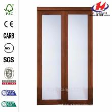 48 polegadas x 80 polegadas. Série 2000 Cereja composta 1-Lite Vidro temperado porta deslizante