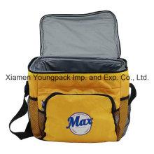 Logotipo personalizado impreso amarillo 600d Oxford tela aislada Cool Bag