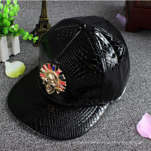 Embroidery Leather Strap Snapback Hat