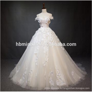 Роскошь с плеча кружева цветок свадебное платье бальное платье с большим хвостом