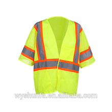 High visibility 100% Polyester Mesh Reflective Safety Vest with 2pockets