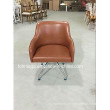 Les fauteuils de salon en cuir marron de conception européenne modernes (FOH-LC18)