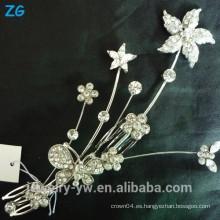 Moda nupcial flor peine peine de las señoras chapado peinetas de pelo de accesorios de pelo de metal