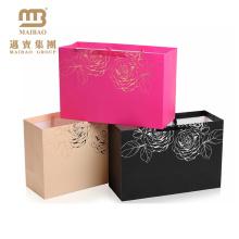 Роскошный блеск фольги изготовленный на заказ печать Логоса магазины розовое золото бумажный мешок подарка с ручками