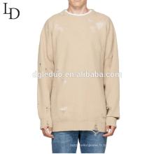 Mode personnalisé à manches longues o cou ordinateur tricoté pull en coton mans pull
