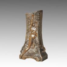 Vase Statue Nude Goddess Bronze Jardiniere Sculpture, G. Flamand TPE-665