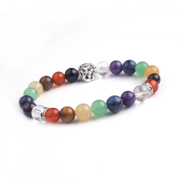 8MM Chakra Gemstone Beads Silver Plating Lion Head Bracelet