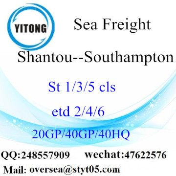 Shantou Port Sea Freight Shipping To Southampton