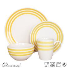 Set de cena de cerámica de 16 piezas con diseño amarillo pintado a mano